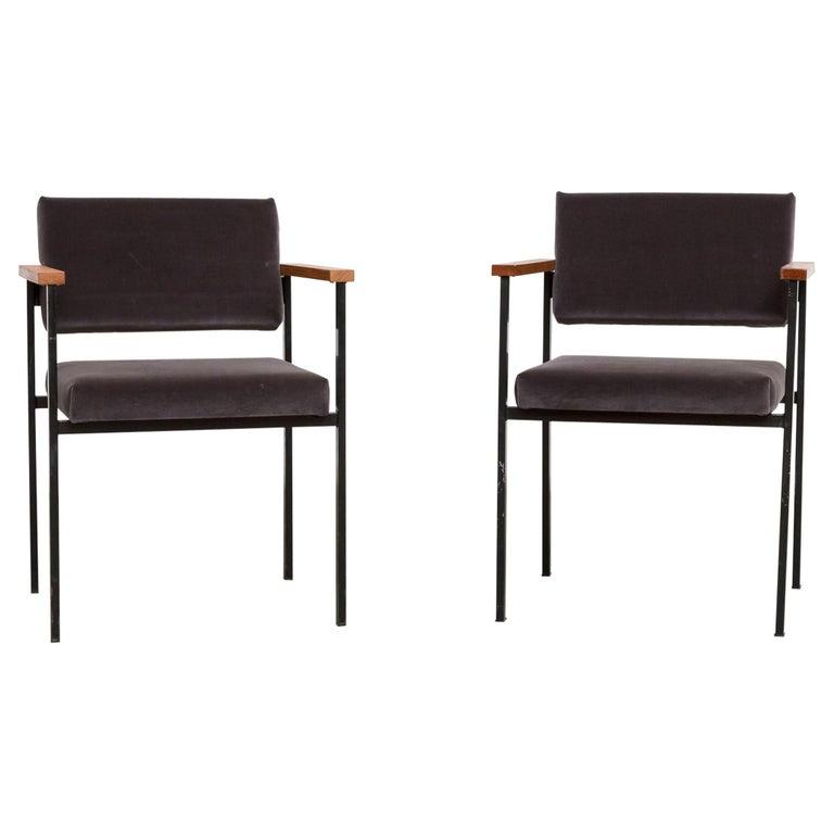 Pair Of Martin Visser Style Grey Velvet Armchairs For Sale At 1stdibs