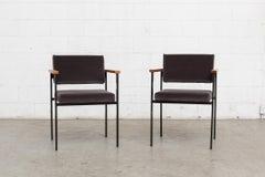 Pair of Martin Visser Grey Velvet Arm Chairs