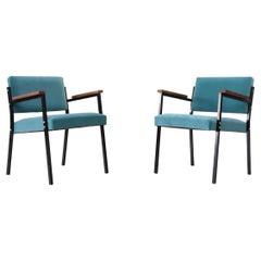 Pair of Martin Visser Style Aqua Velvet Lounge Chairs