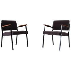 Pair of Martin Visser Style Grey Velvet Armchairs