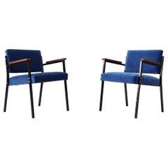 Pair of Martin Visser Style Lapis Velvet Lounge Chairs