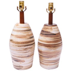Pair of Martz for Marshall Studios Earth-Tone Swirl Ceramic Lamps