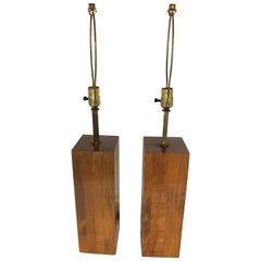 Pair of Masculine Walnut Block Form Mid-Century Modern Table Lamps