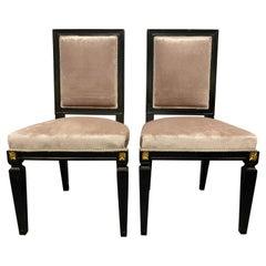 Pair of Mason Jansen Style Ebonized Dining Chairs Hollywood Regency Style