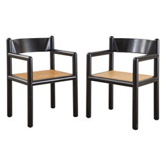 Pair of Massimo and Lella Vignelli Caned Acorn Armchairs