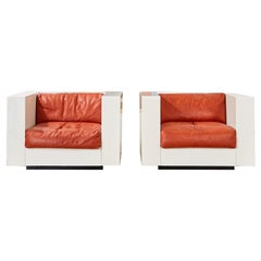 Pair of Massimo Vignelli for Poltronova Saratoga Cube Chairs
