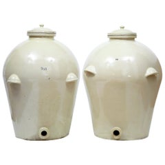 Pair of Massive Doulton of London RMS Shipping Stoneware Alcohol Jars