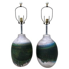 Pair of Massive Fantoni Signed Ceramic Handmade Glazed Lamps