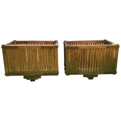 Pair of Massive French Pine Laundry Bins on Wheels as Planters