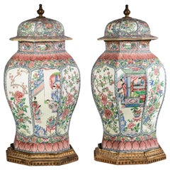 Pair of Massive French Porcelain Famille Rose Chinoiserie Covered Urns