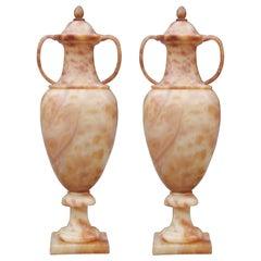Pair of Massive Italian Alabaster Urns with Internal Lighting / Lamp