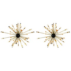 Pair of Massive Italian Design Sputnik Stilnovo Chandelier 1950s Brass Black