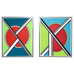 Pair of Massive Mid-Century Modern Abstract Original Acrylic Paintings