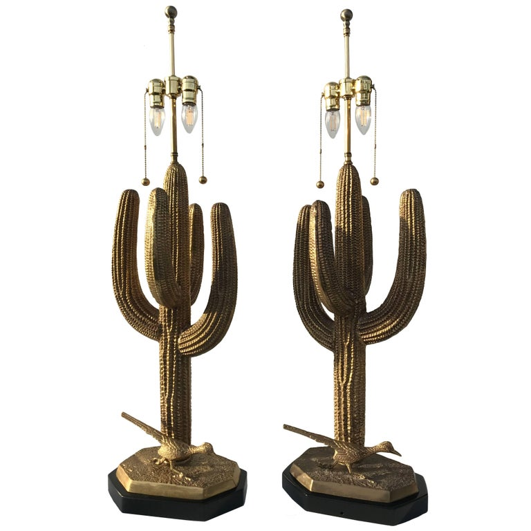 Pair of Massive Solid Brass Saguaro Cactus Table Lamps