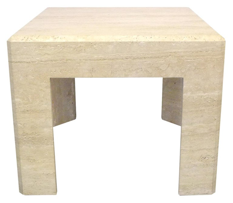 Modern Pair of Massive Square Travertine Side Tables For Sale
