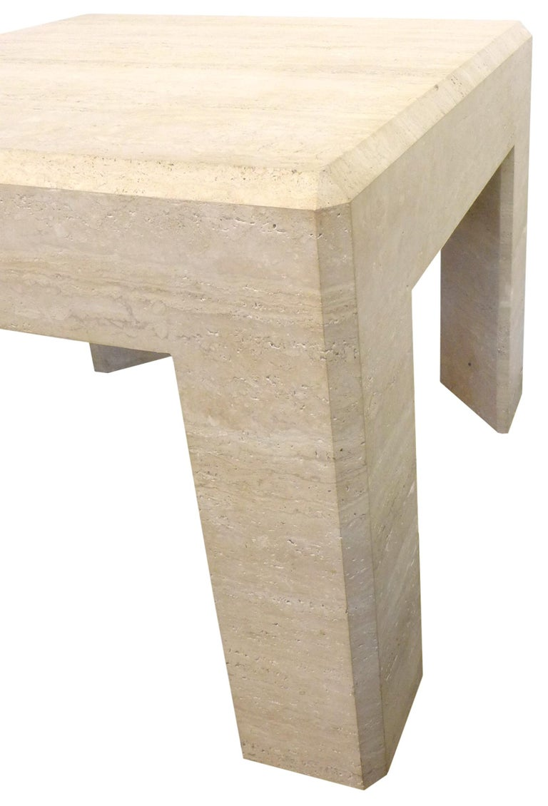 Italian Pair of Massive Square Travertine Side Tables For Sale