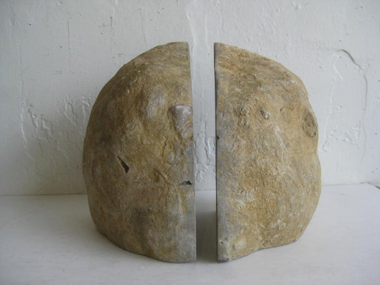 20th Century Pair of Massive Vintage Natural Geode Stone Rock Sculptural Bookends For Sale
