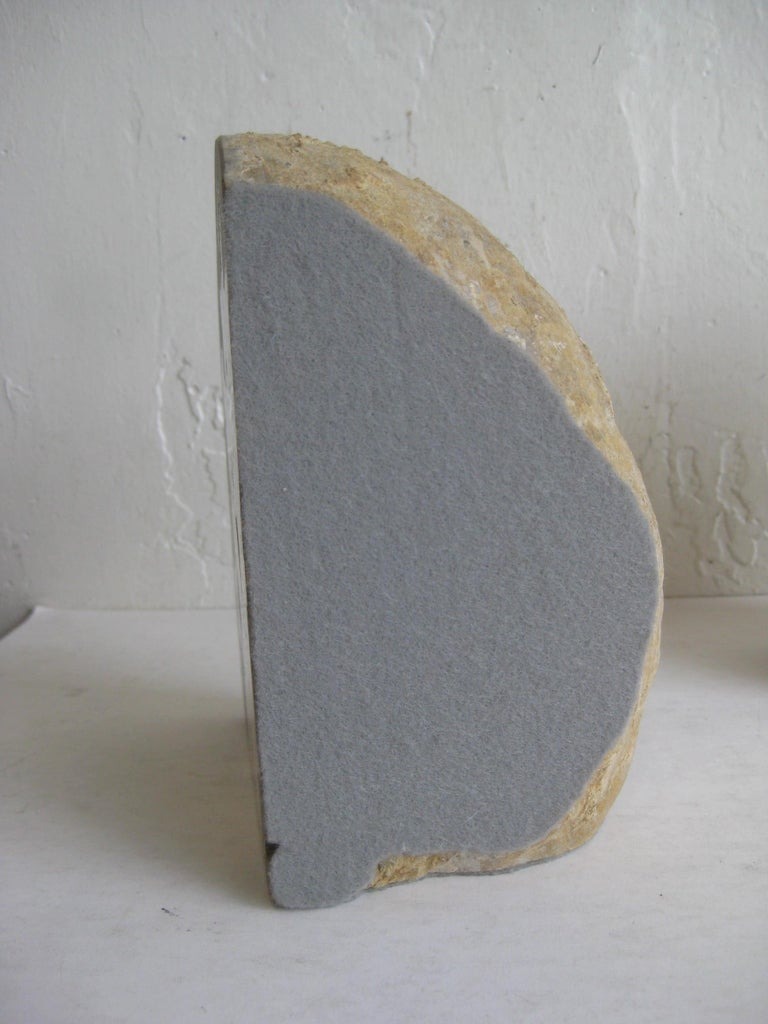 Pair of Massive Vintage Natural Geode Stone Rock Sculptural Bookends For Sale 4