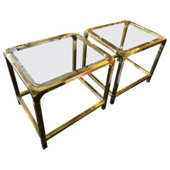 Pair of Mastercraft Brass and Glass Side Tables