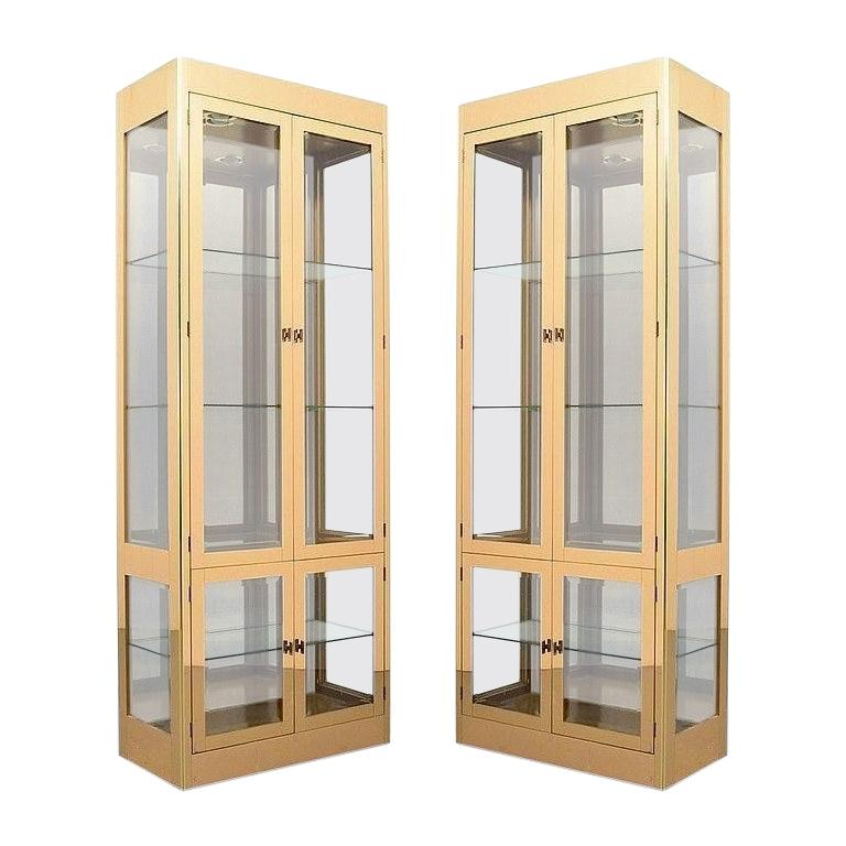 Pair of Mastercraft Brass Display Cabinets