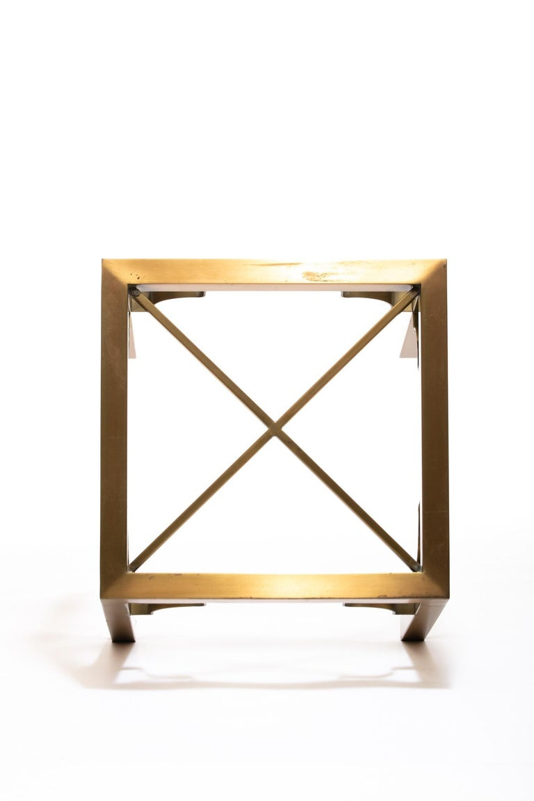 Hollywood Regency Pair of Mastercraft Brass Side Tables, circa 1970 For Sale