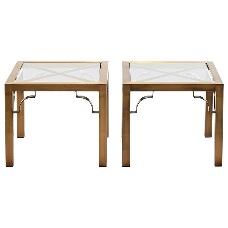 Pair of Mastercraft Brass Side Tables, circa 1970 For Sale