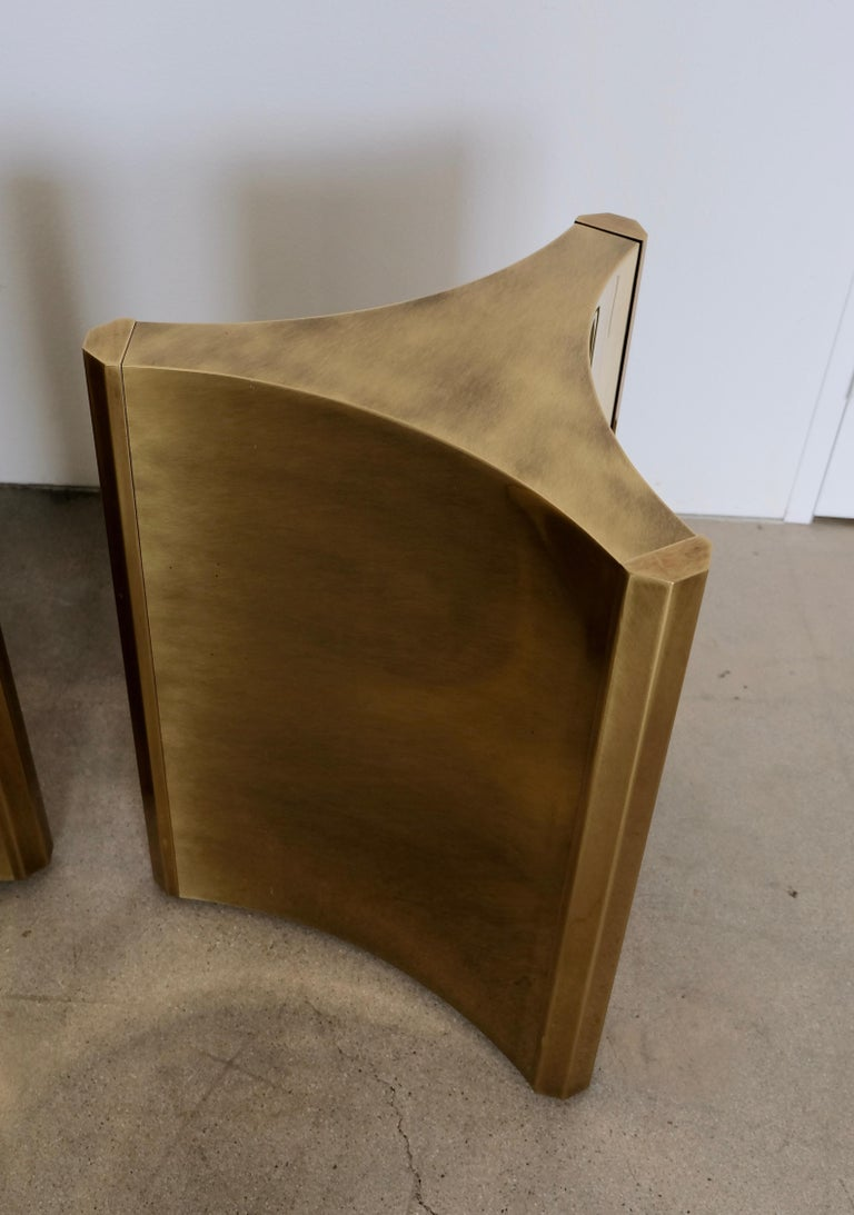 20th Century Pair of Mastercraft Brass 'Trilobi' Dining Table Bases For Sale