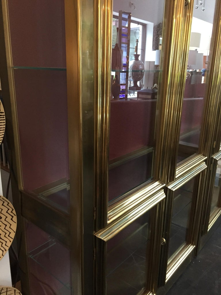 Pair of Mastercraft Brass Vitrines Display Cabinets  For Sale 3