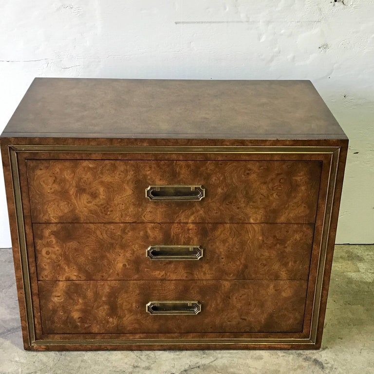 Pair of Mastercraft burl and brass chests or nightstands, by Bernhard Rhone, each one fitted with three 28.5