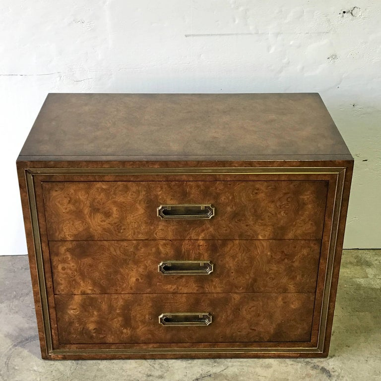 Mid-Century Modern Pair of Mastercraft Burl and Brass Chests or Nightstands by Bernhard Rhone For Sale