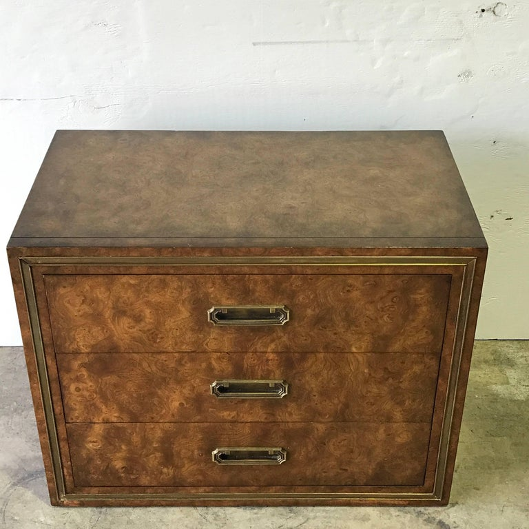 Pair of Mastercraft Burl and Brass Chests or Nightstands by Bernhard Rhone In Good Condition For Sale In West Palm Beach, FL