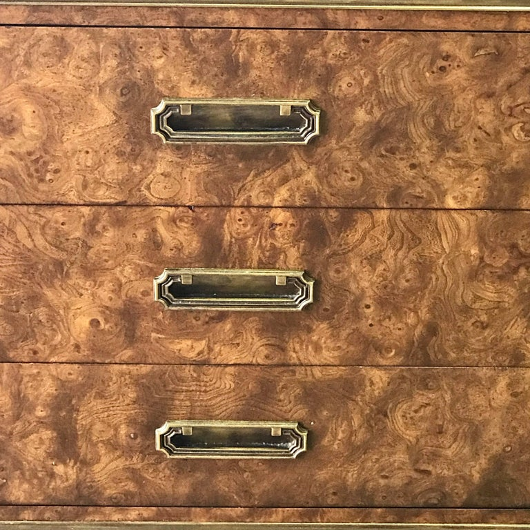 Mid-20th Century Pair of Mastercraft Burl and Brass Chests or Nightstands by Bernhard Rhone For Sale