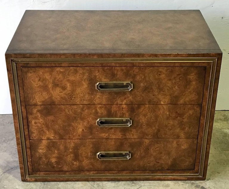 Pair of Mastercraft Burl and Brass Chests or Nightstands by Bernhard Rhone For Sale 1
