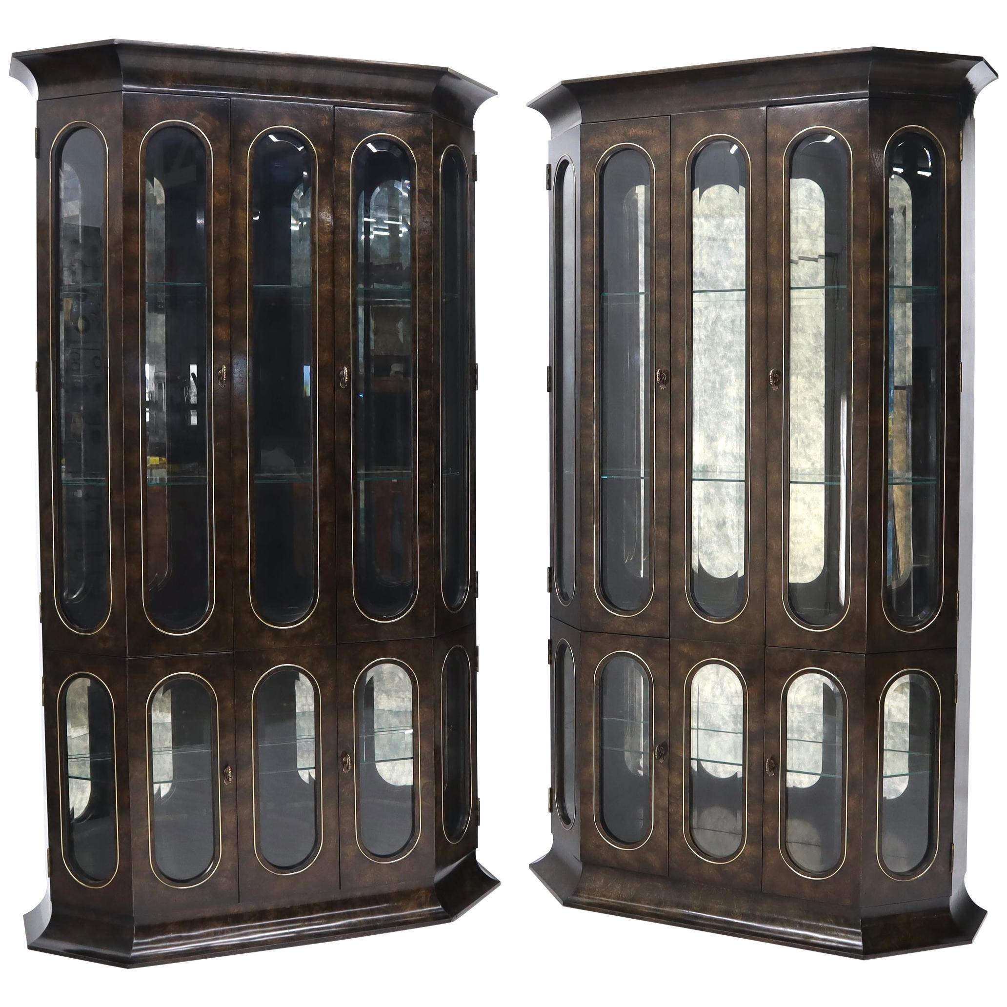 Pair of Mastercraft Burlwood and Glass Curio Display Cabinets Vitrines Etageres
