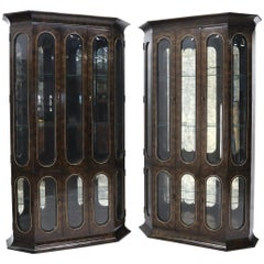 Pair of Mastercraft Burlwood and Glass Curio Display Cabinets Vitrines Etageres