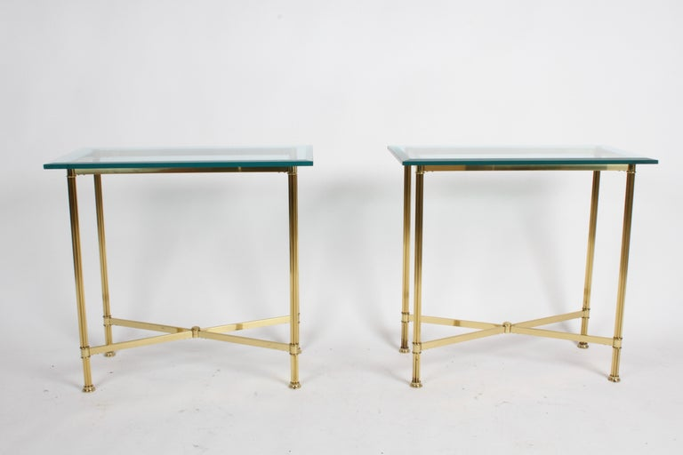 American Pair of Mastercraft Hollywood Regency Fluted Brass and Glass Console Tables For Sale