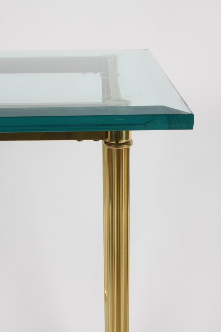 Pair of Mastercraft Hollywood Regency Fluted Brass and Glass Console Tables For Sale 1