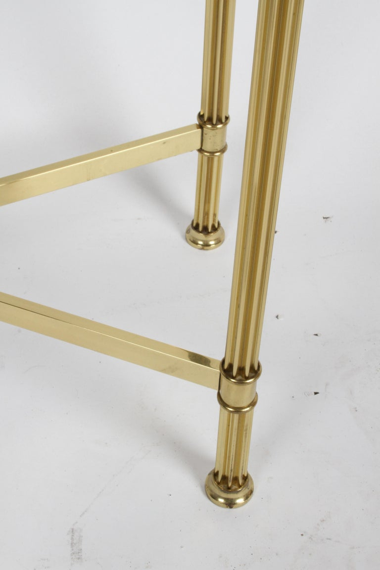 Pair of Mastercraft Hollywood Regency Fluted Brass and Glass Console Tables For Sale 3