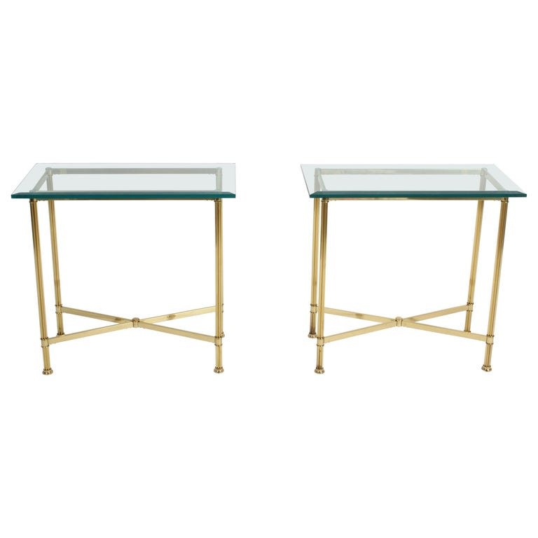 Pair of Mastercraft Hollywood Regency Fluted Brass and Glass Console Tables For Sale