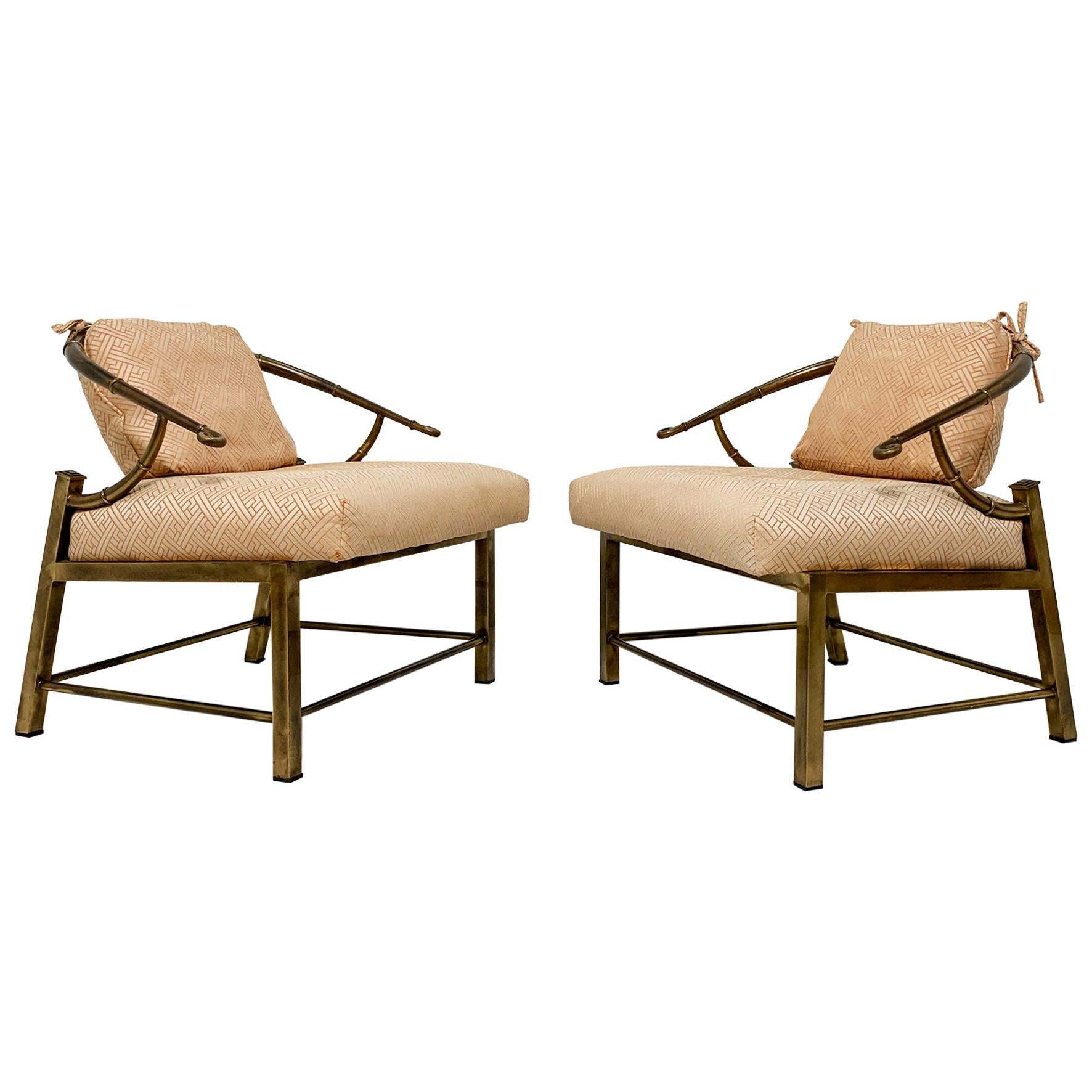 Pair of Mastercraft Hollywood Regency Lounge Chairs by Pengelly, circa 1960s