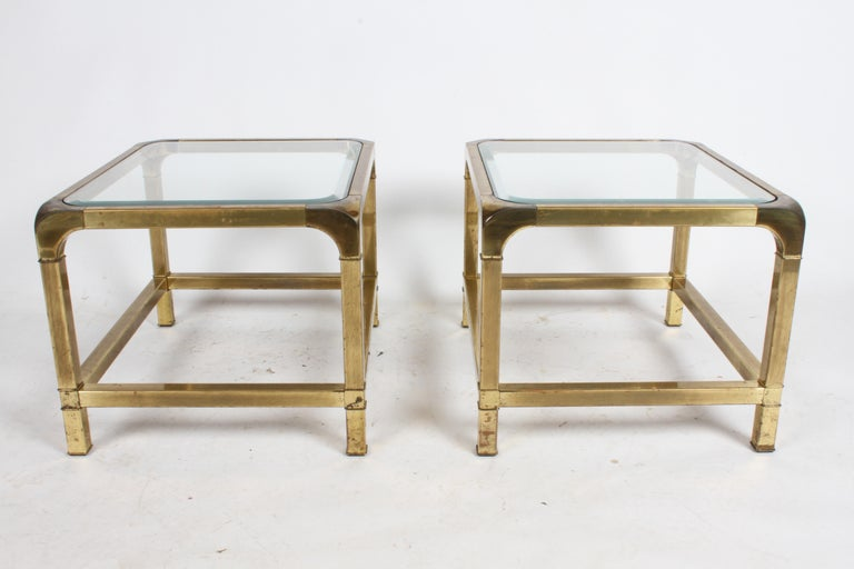 Pair of Mastercraft Mid-Century Brass End Tables For Sale 9