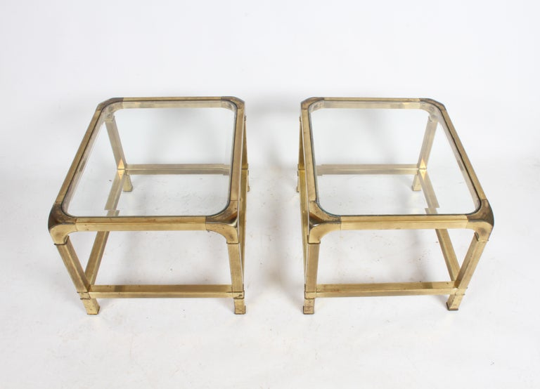 Hollywood Regency Pair of Mastercraft Mid-Century Brass End Tables For Sale