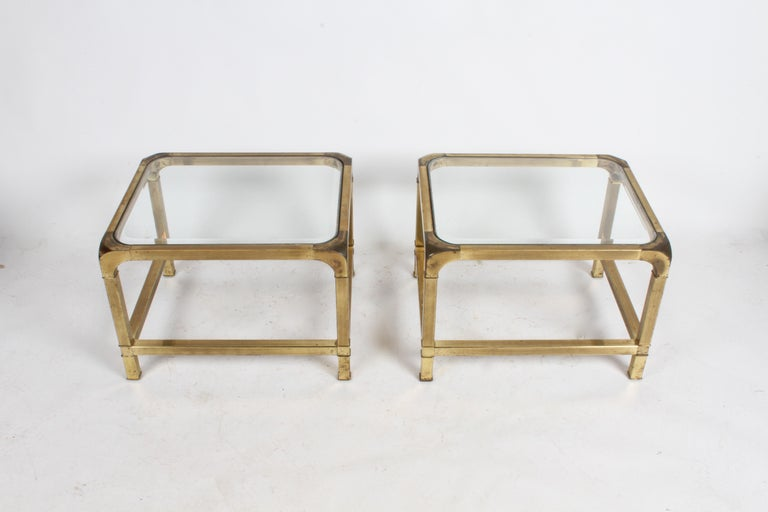 American Pair of Mastercraft Mid-Century Brass End Tables For Sale