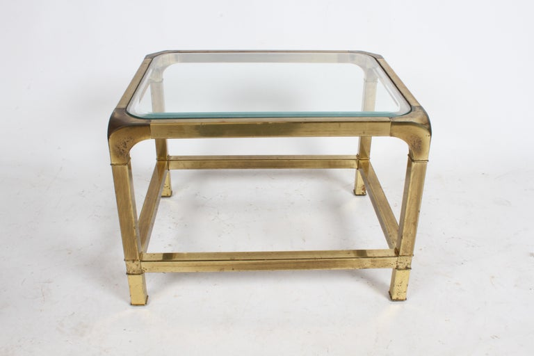 Late 20th Century Pair of Mastercraft Mid-Century Brass End Tables For Sale