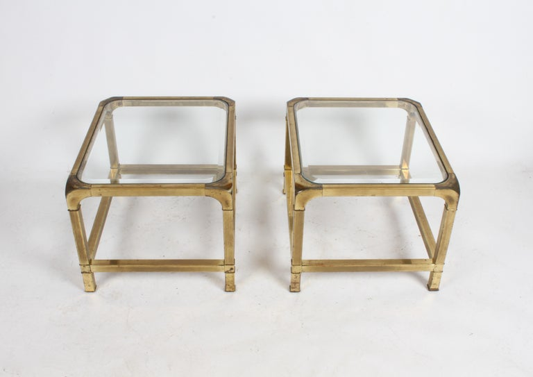 Pair of Mastercraft Mid-Century Brass End Tables For Sale 2