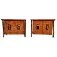 Pair of Mastercraft Nightstand End Tables Hollywood Regency Burl Wood and Brass
