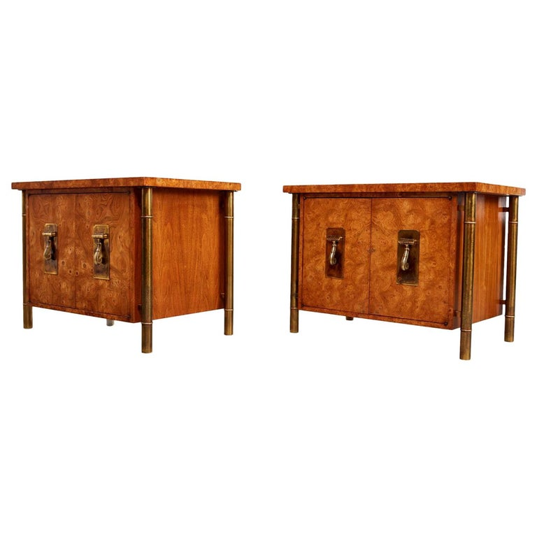 Pair of Mastercraft Nightstand End Tables Hollywood Regency Burl Wood and Brass For Sale
