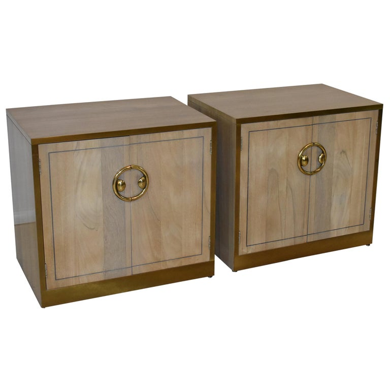 Pair of Mastercraft Nightstands Brass and Zebrano / Zebra Wood