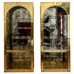 Pair of Mastercraft Palladian Style Brass and Antique Glass Vitrines or Dry Bar