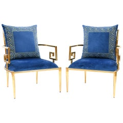 Pair of Mastercraft Polished Brass Greek Key Lounge Chairs, 1970s